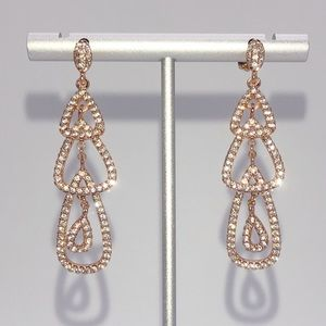 Rose Gold Topaz Chandelier Drop Dangle Earrings